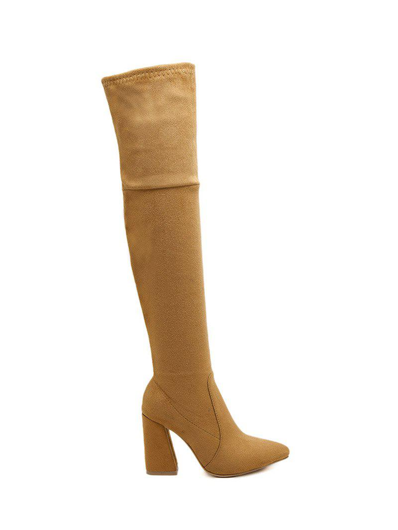 brown 37 chunky heel pointed toe thigh high boots