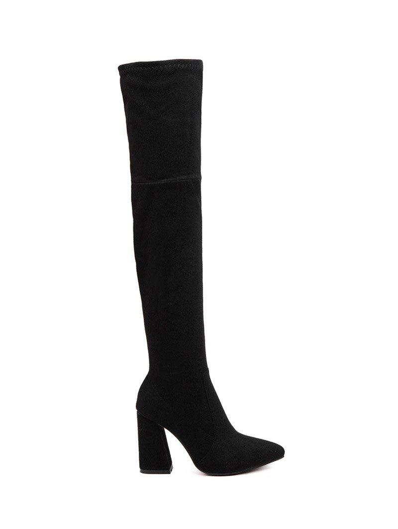 761dd5a69d8 Chunky Heel Pointed Toe Thigh High Boots