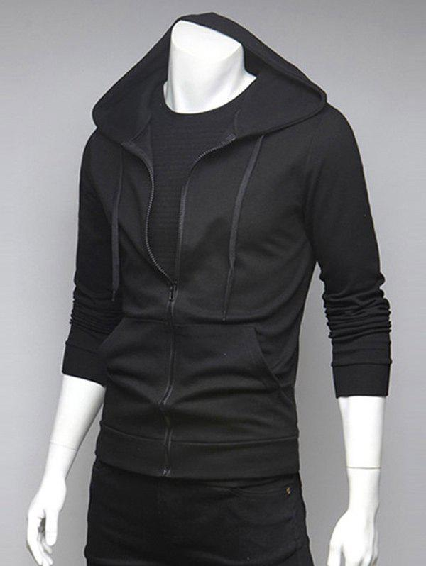 Spliced Pocket Drawstring HoodieMEN<br><br>Size: 2XL; Color: BLACK; Material: Cotton,Polyester; Shirt Length: Regular; Sleeve Length: Full; Style: Fashion; Weight: 0.3540kg; Package Contents: 1 x Hoodie;