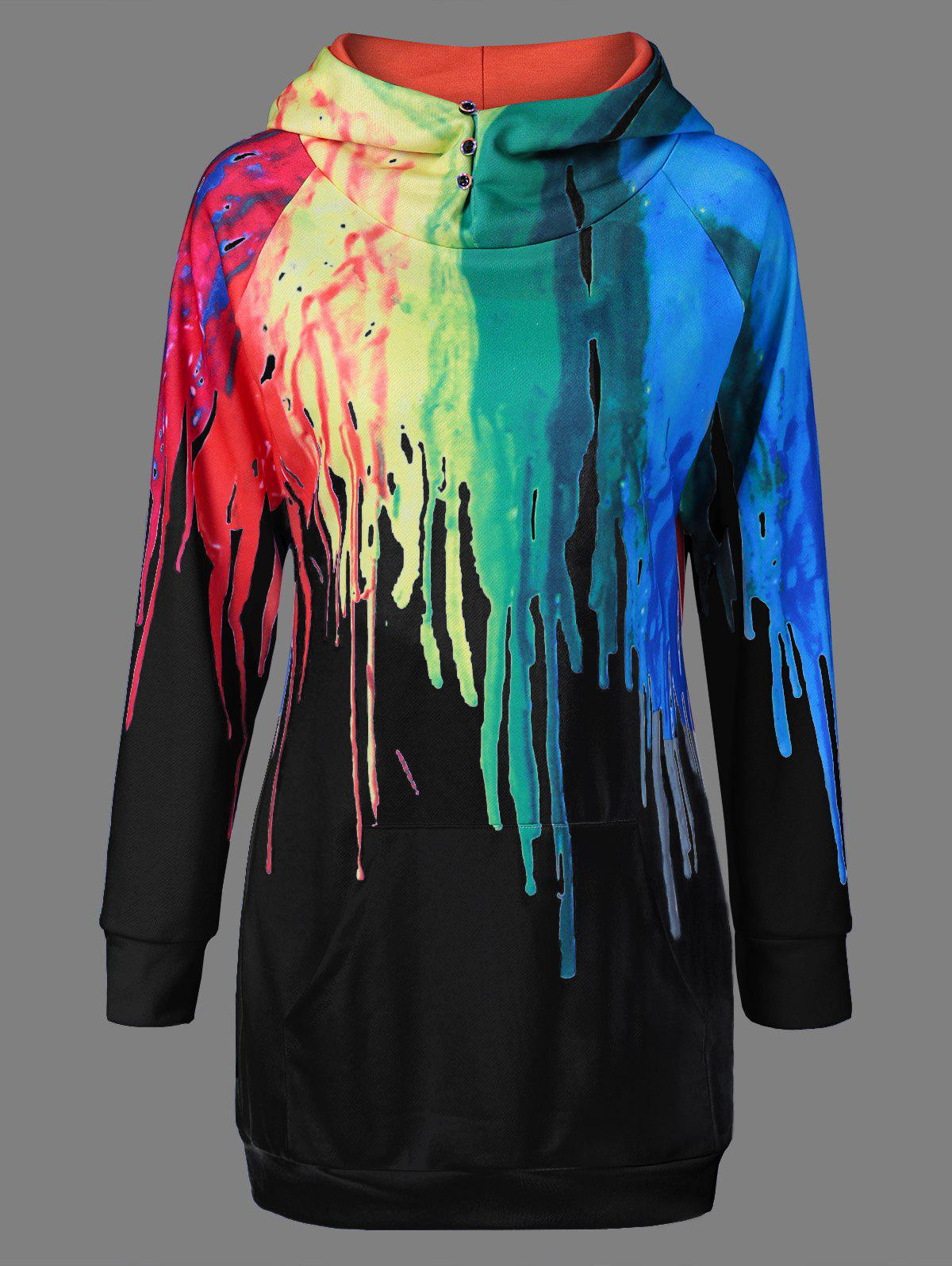 Oil Paint Over Print Rainbow HoodieWOMEN<br><br>Size: S; Color: BLACK; Material: Polyester; Shirt Length: Long; Sleeve Length: Full; Style: Fashion; Pattern Style: Print; Season: Fall,Spring; Weight: 0.560kg; Package Contents: 1 x Hoodie;