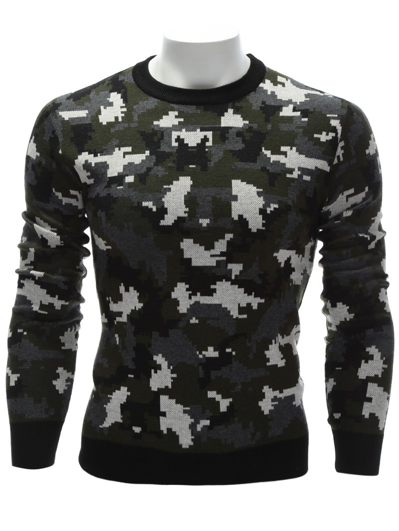 Affordable Crew Neck Camouflage Sweater