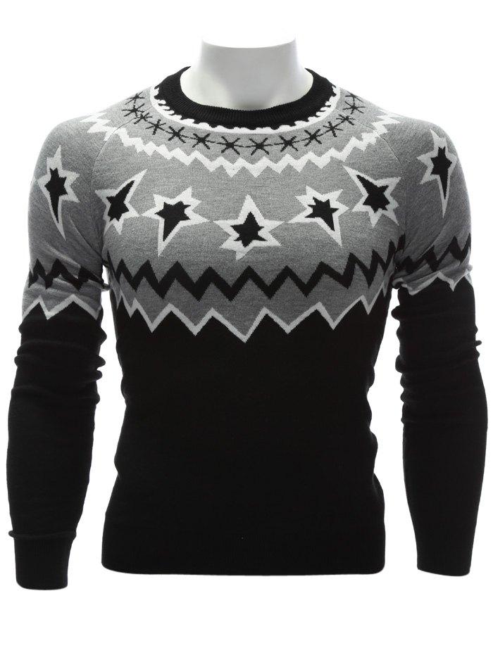 Hot Crew Neck Color Block Waviness Graphic Sweater