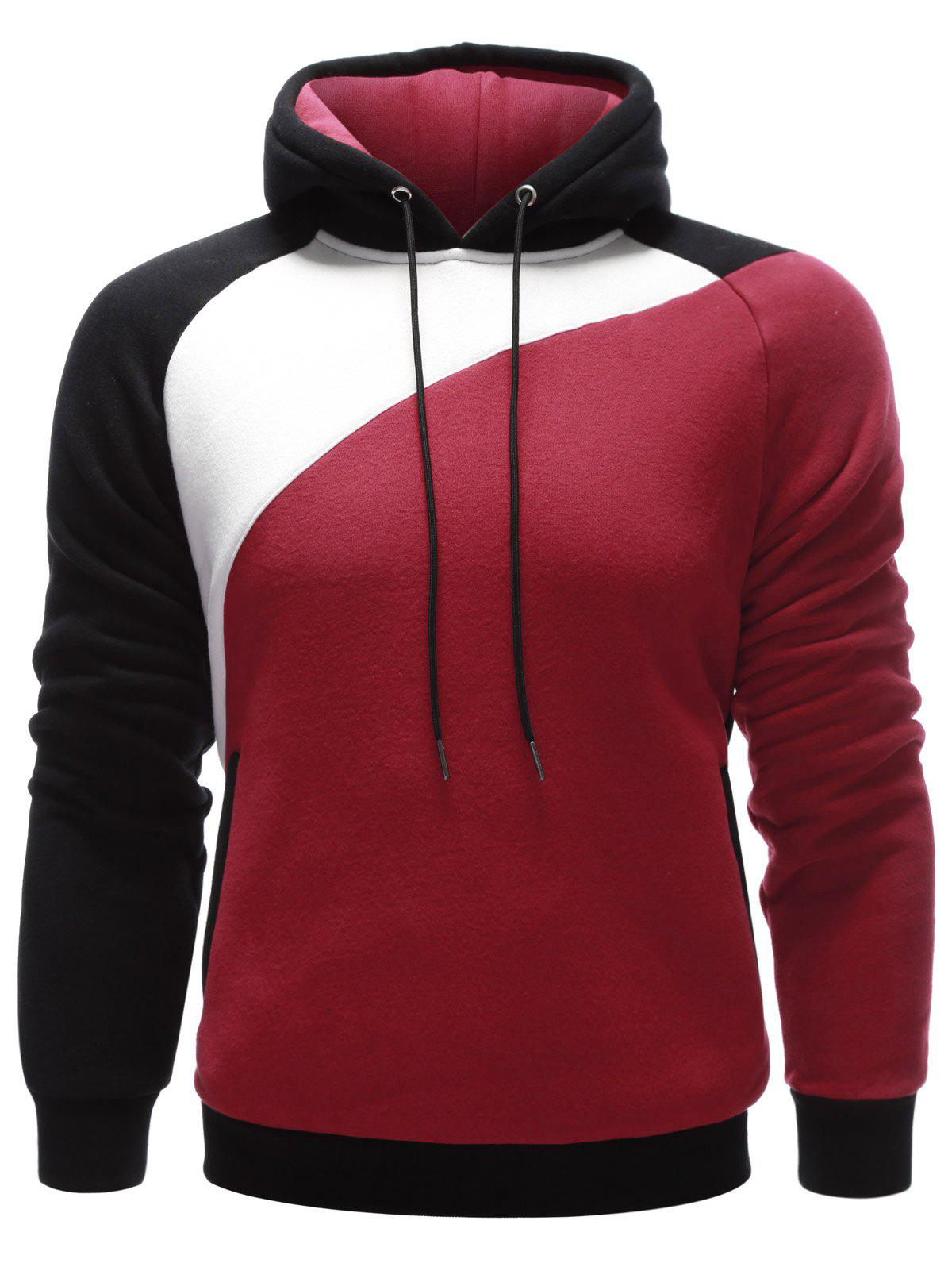 Buy Contrast Paneled Side Pocket Raglan Sleeve Hoodie