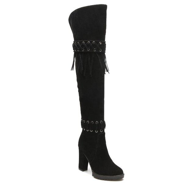 Outfits Chunky Heel Criss-Cross Fringe Thigh Boots