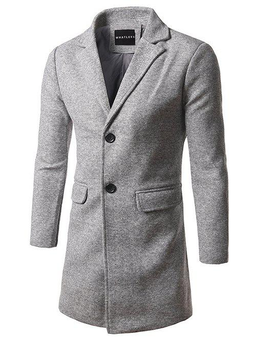 Fancy Flap Pocket Lapel Tweed Wool Blend Coat