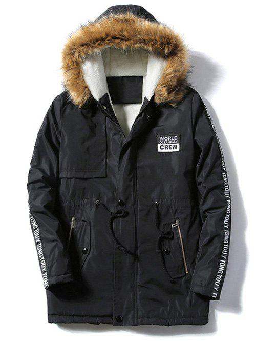 Patch Design Zip Up Fur Hooded CoatMEN<br><br>Size: 4XL; Color: BLACK; Clothes Type: Padded; Style: Casual; Material: Cotton,Polyester; Collar: Hooded; Shirt Length: Regular; Sleeve Length: Long Sleeves; Season: Winter; Weight: 0.8030kg; Package Contents: 1 x Coat;
