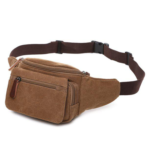 Canvas Colour Spliced Zippers Waist BagSHOES &amp; BAGS<br><br>Color: LIGHT COFFEE; Gender: For Men; Pattern Type: Patchwork; Closure Type: Zipper; Main Material: Canvas; Length: 37CM; Width: 5CM; Height: 14CM; Weight: 1.2000kg; Package Contents: 1 x Waist Bag;