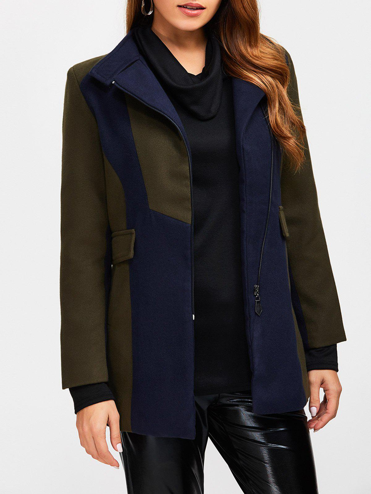 Store Asymmetrical Color Block Wool Blend Coat