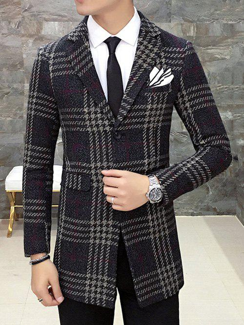 Fancy Single Breasted Lapel Wool Mix Checkered Coat