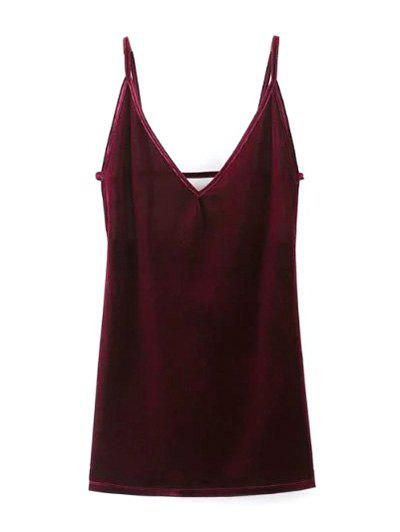 Buy Plunging Neck Pleuche Slip Dress