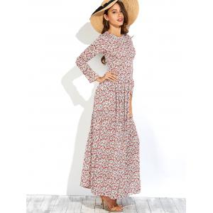 Long Sleeve Tiny Floral Print Maxi Dress - RED M
