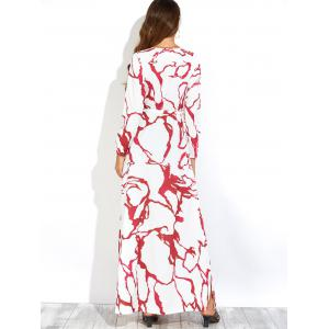 Plunge Maxi Long Sleeve Print Slit Swing Dress -