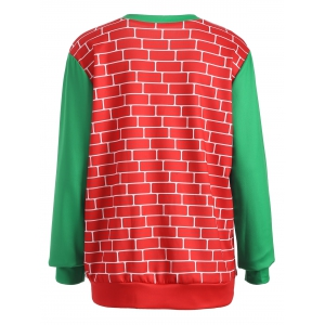 3D Christmas Print Color Block Sweatshirt - RED/GREEN ONE SIZE