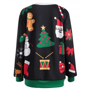 Pullover Christmas Graphic Print Sweatshirt - BLACK/GREEN ONE SIZE