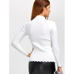 High Neck Scalloped Sweater -