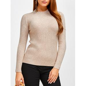Fit Ribbed Pullover Sweater - Khaki - One Size