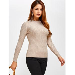 Fit Ribbed Pullover Sweater - KHAKI ONE SIZE