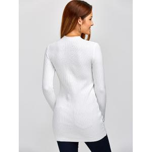 High Neck Ribbed Jumper Dress - WHITE ONE SIZE
