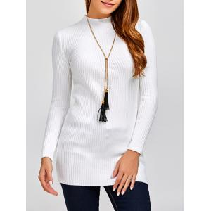 High Neck Long Sleeve Ribbed Jumper Dress