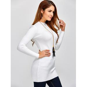 High Neck Long Sleeve Ribbed Jumper Dress - WHITE ONE SIZE