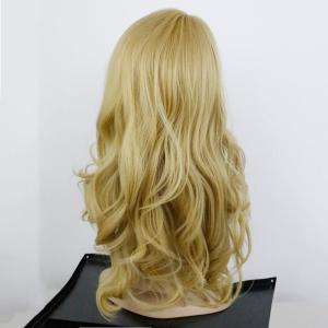 Charming Long Synthetic Blonde Capless Fluffy Wavy Wig For Women - GOLDEN