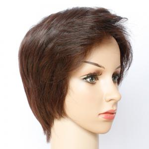 Fashion Straight Dark Brown Side Bang Capless Short Synthetic Wig For Women -
