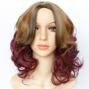 Fashion Blonde Mixed Purple Synthetic Shaggy Wave Long Wig For Women - COLORMIX