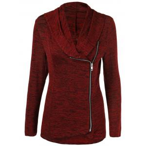 Plus Size Side Zipper Heather Long Jacket - Burgundy - 2xl
