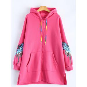 Butterfly Print Pocket Design Zip Up Hooded Coat - Rose Madder - Xl
