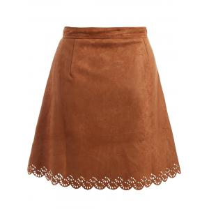 Plus Size Tie Front Suede Scalloped Skirt - BROWN 4XL