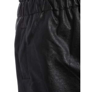 Plus Size Button Decorated Faux Leather Shorts - BLACK 5XL