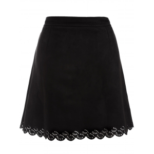Plus Size Tie Front Suede Scalloped Skirt - BLACK 3XL