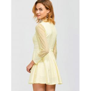 Sheer Lace Openwork Mini  Dress -