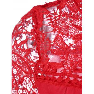 Plus Size Lace Insert Tee - RED 5XL