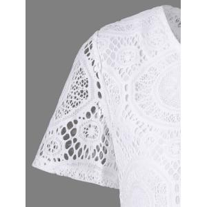 Lace Insert Crochet Short A Line Dress - WHITE S