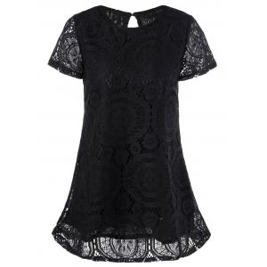 Lace Insert Crochet Short A Line Dress