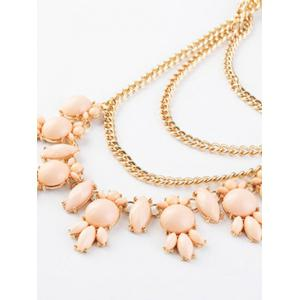 Faux Gem Pendant Layered Sweater Chain - PINK