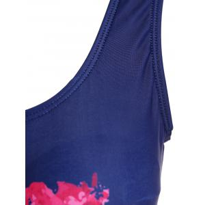 Lip Printed Backless One Piece Swimsuit - DEEP BLUE XL