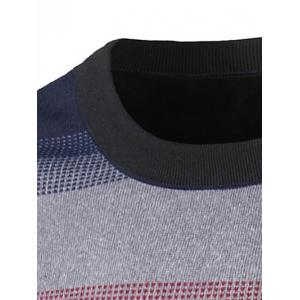Crew Neck Color Block Ombre Spliced Stripe Sweater - COLORMIX 2XL