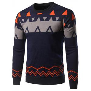Crew Neck Waviness and Geometric Graphic Sweater