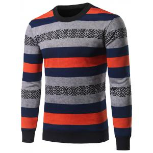Crew Neck Color Block Stripe and Geometric Pattern Sweater - Colormix - Xl