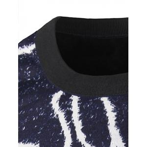 Crew Neck Irregular Geometric Pattern Sweater - CADETBLUE XL