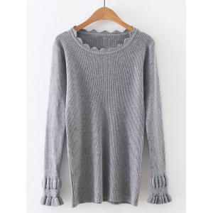 Long Sleeve Solid Color Tight Ribbed Sweater - Gray - One Size