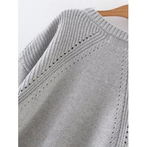 High Low Long Sleeve Hollow Out Sweater - GRAY ONE SIZE