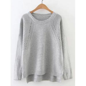 High Low Long Sleeve Hollow Out Sweater