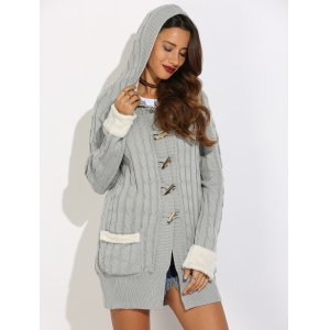 Horn Button Cable Knit Cardigan - GRAY L