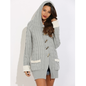Horn Button Cable Knit Cardigan - Gray - S