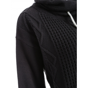 Drop Shoulder Cable Knit Turtleneck Sweater - BLACK XL