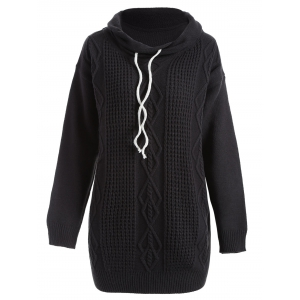Drop Shoulder Cable Knit Turtleneck Sweater - Black - S