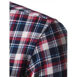 Turndown Collar Thicken Color Block Checked Shirt - COLORMIX 2XL